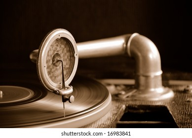 Sepia tinted Gramophone vintage record player