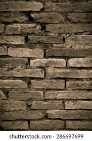 Sepia tone of brick wall pattern