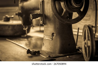 Sepia tone photo of vintage german sewing machine