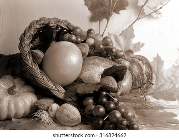 Sepia toned close up image of fall cornucopia containing fruits and vegetables and nuts with autumn leaves scattered around with rustic wood background.  Horizontal composition. Good for fall harvest.