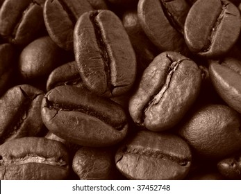 sepia toned dark brown coffee beans background