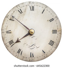 Sepia toned image of an old clock face isolated on a white background