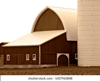Sepia toned photo of dairy barn in Michigan
