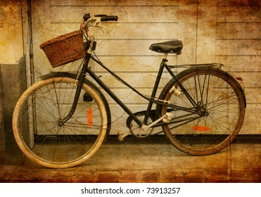 Sepia treated image of bicycle, Lille, France