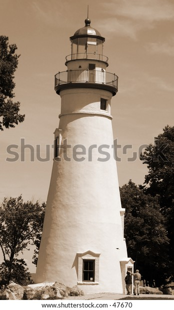 A sepia version of the Marblehead lighthous in Port Clinton Ohio