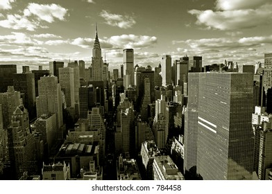 Sepia view of Manhattan with Empire State building from above