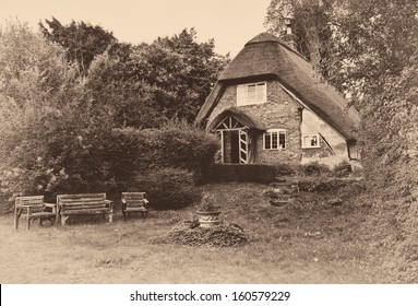 sepia vintage house