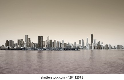 Sepia vintage skyline of Chicago city