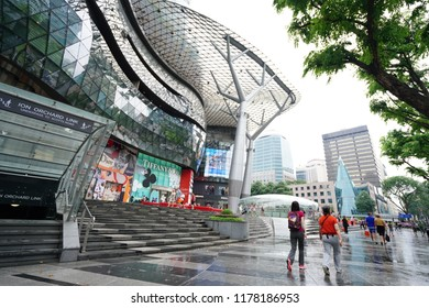 Sept 08, 2018 - View of ION Orchard shopping mall on Mar 23, 2013 in Singapore Orchard Road. The Media Facade is a multi-sensory canvas media wall made with cutting-edge technology.