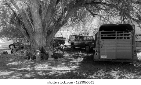 SEPT 14, 2018 -Horse trailers in Cortez Colorado, USA