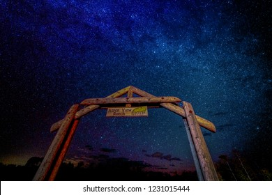 SEPT 16, 2018 - RIDGWAY COLORADO USA - Milkyway Stars over Aspen View Ranch gate, Ridgway Colorado, owned by photographer Joe Sohm