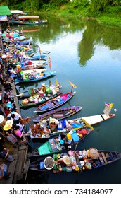 SEPT 16th 2011, HATYAI FLOATING MARKATYAI, THAILAND - Floating market is a traditional way of trading of the local people who uses waterway transportation