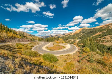 "SEPT 18, 2018 - ROUTE 550 SILVERTON, COLORADO, USA - ""Circular elevated view of Colorado State Highway 550, known as ""Million Dollar Highway"" threads its way from Silverton to Ouray"