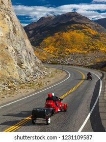 "SEPT 19, 2018 - SILVERTON, COLORADO - Motorcycles drive autumn road goes from Ouray to Silverton Colorado, the ""Million Dollar Highway"" with color, Route 550"