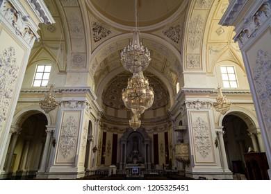 Sept 2018 - Castiglione di Sicilia, Italy - the interior of Basilica di Santa Maria della Catena. Sicily has thousands of such beautiful baroque style small churches in it's many villages.