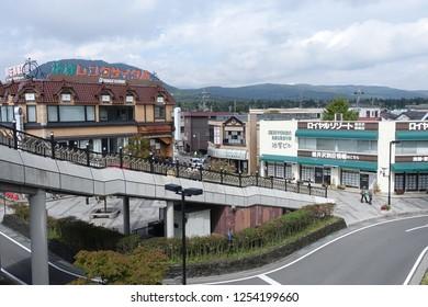 Sept 2018 - Karuizawa, Japan: In front of Karuizawa station, a famous tourist resort in Nagano Prefecture, Japan.