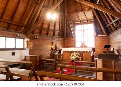 Sept 2018 - Karuizawa, Japan: Interior of St. Paul church, a catholic church established in 1935 by French people living in Karuizawa, Nagano Prefecture in Japan.