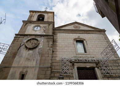 Sept 2018 - Motta Camastra, Sicily, Italy - Chiesa Madre with some village festival decorations. Motta is a village in Sicily not far from Taormina, perched on the top of a hill.