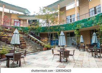 Sept 2018 - Nagano, JAPAN: Open area at Church Street Karuizawa, ashopping mall situated between Kyu-Karuizawa Ginza Dori Street and St. Paul's Catholic Church in Karuizawa Town, Nagano Prefecture.
