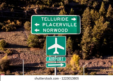 SEPT. 25, 2018 - TELLURIDE COLORADO, USA - Road sign to Telluride, Placerville and Norwood Colorado