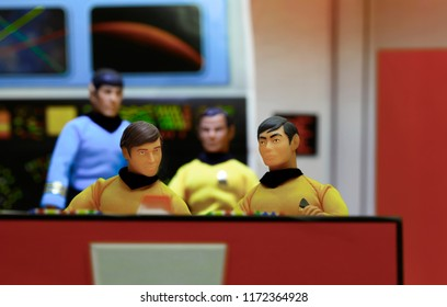 SEPT 3 2018: recreation of a scene from Star Trek with Sulu, Chekov, Kirk and Spock on the bridge of the starship Enterprise- Mego action figures