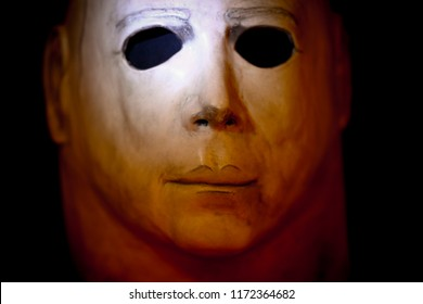 SEPT 3 2018: Studio portrait of a Michael Myers mask from John Carpenter's Halloween movie with dramatic lighting. The mask used in the 1978 movie was an altered Captain Kirk mask