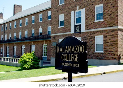 sept 5, 2014, Michigan USA; Michigan Kalamazoo College; A sign sits outside a college campus marking a michigan university, there since 1833