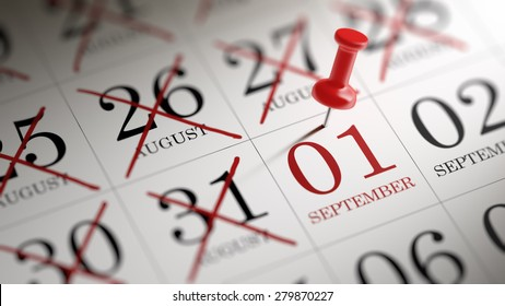 September 01 written on a calendar to remind you an important appointment.