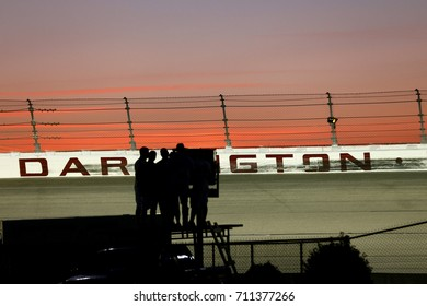 September 03, 2017 - Darlington, South Carolina, USA: Fans look on as the sun sets during the Bojangles' Southern 500 at Darlington Raceway in Darlington, South Carolina.