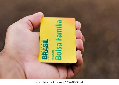 September 05, 2019, Brazil. In this photo illustration a hand holds the Bolsa Familia Card - Bolsa Familia is a social assistance program of the Brazilian government