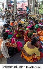 September 07,2018. Debanandapur, West Bengal. India. A group of Self employment women working and manufacturing garments.