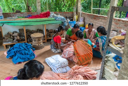 September 07,2018. Debanandapur, West Bengal. India. A group of Self employment village  women working and manufacturing garments.