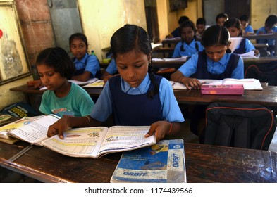 September 08, 2018 Allahabad Uttar Pradesh/India: Children attend a class at a Government school on the occasion of World Literacy Day in Allahabad on 08-09-2018.