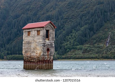 September 08 2018 Juneau Alaska. Old pump station on sandy Beach   in the Treadwell mine historic park in Juneau Alaska