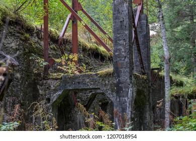 September 08 2018 Juneau Alaska. ruins in he Treadwell mine historic park in Juneau Alaska