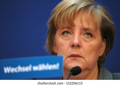 SEPTEMBER 1, 2005 - BERLIN: Angela Merkel, chairwoman of the Christian Democratic Party (CDU) during a press conference with members of the CSU and FDP in Berlin.