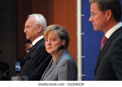 SEPTEMBER 1, 2005 - BERLIN: Edmund Stoiber, Angela Merkel, Guido Westerwelle during a press conference of the conservative partties in Germany on September 1, 2005 in Berlin.