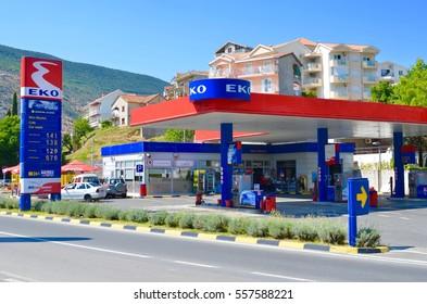 September 1, 2013. Montenegro, Herceg Novi. Eko filling station.