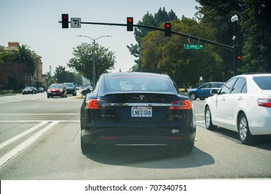 September 1, 2017 Sunnyvale/CA/USA - Tesla Model S P85D stopped at a traffic light
