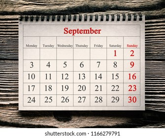September 1, 2018 in the calendar on the wood background.