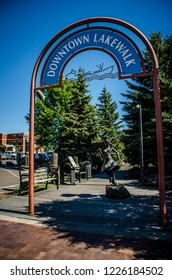 SEPTEMBER 1 2018 - DULUTH, MN: Sign for the Canal Park downtown Lakewalk, a tourist attraction along the shore of Lake Superior
