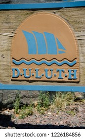 SEPTEMBER 1 2018 - DULUTH, MN: Sign welcomes visitors to Duluth Minnesota in Canal Park, along the shores of Lake Superior