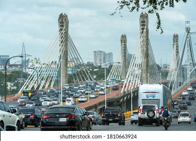 september 1, 2020 santo domingo, Dominican Republic. dramatic image of afternoon traffic on the Puente prof. Juan Bosch, and the Puente Juan Pablo Duarte bridge in the caribbean capital.