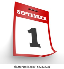 September 1. Calendar on white background. 3D illustration.