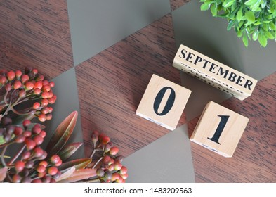 September 1. Date of September month. Number Cube with a flower leaves and bush on Diamond wood table for the background