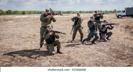 September 10, 2015. Kiev region, Ukraine.  National Guard military training exercises.