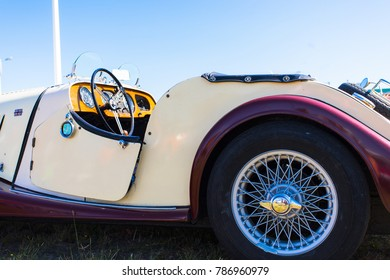 September 10, 2017 Biscarrosse France: white Morgan cabrio oldtimer car, side view, close up, british classic car