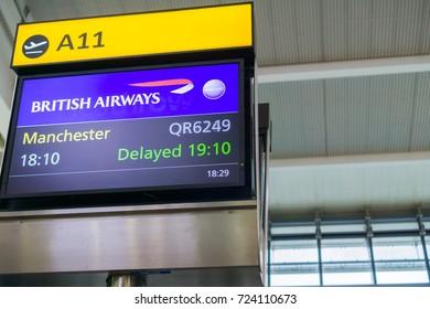 September 10, 2017 London/UK - Flight delay announcement at Heathrow airport