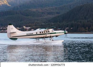 September 10 2018 Juneau Alaska. Seaplane taking off in Juneau harbor Alaska.
