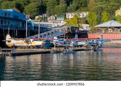 September 10 2018 Juneau Alaska. Seaplanes  in Juneau harbor Alaska.